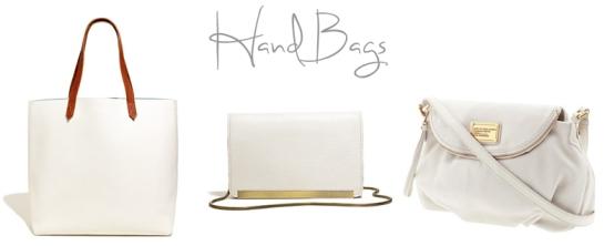 white hand bags