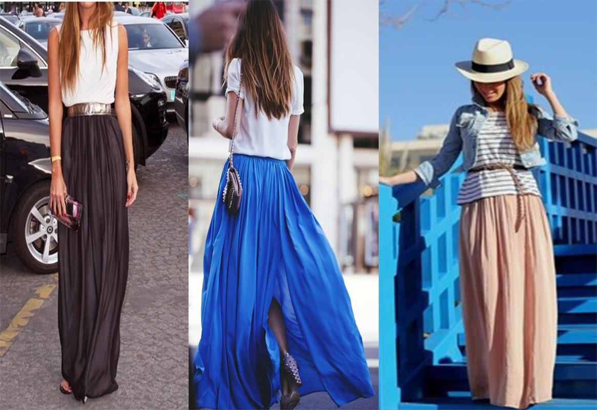 Blue flowy maxi skirt – Fashionable skirts 2017 photo blog