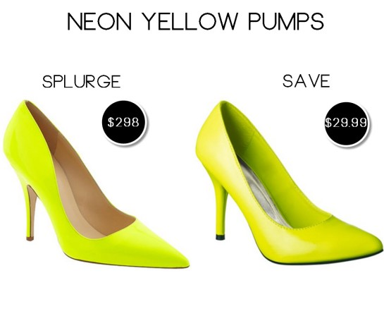 neon yellow pumps