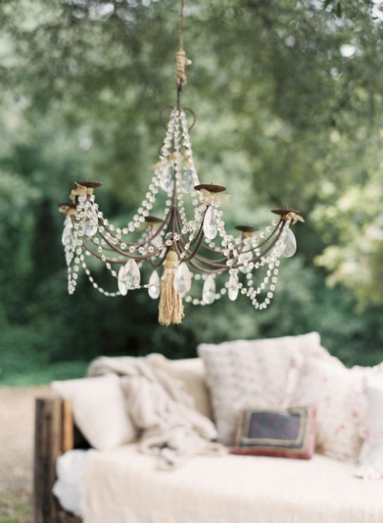 chandelier and couch