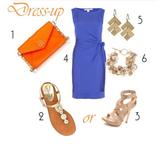 Dress up Cobalt and tangerine