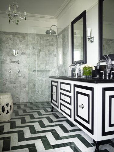 black and white chevron bathroom floor