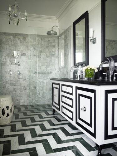 black and white chevron bathroom floor