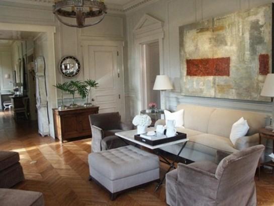 hardwood chevron living room