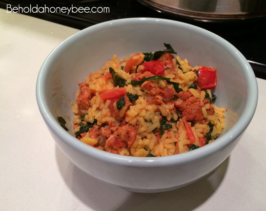 Saffron rice with sausage and kale 3